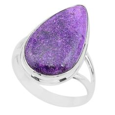 14.90cts solitaire natural purpurite stichtite 925 silver ring size 11 t17961