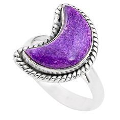 5.82cts moon natural purpurite stichtite 925 silver ring size 8 t22170