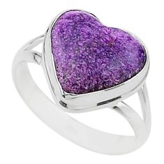 8.34cts solitaire natural purpurite stichtite 925 silver ring size 9.5 t15597