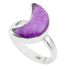 5.43cts moon natural purpurite stichtite fancy silver ring size 7 t22096