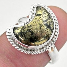 6.10cts solitaire natural pyrite in magnetite 925 silver moon ring size 7 t47657