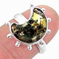 5.77cts solitaire natural pyrite in magnetite 925 silver moon ring size 7 t47838