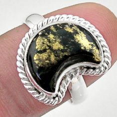 5.80cts solitaire natural pyrite in magnetite 925 silver moon ring size 8 t47715
