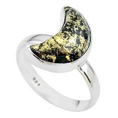 6.04cts moon natural pyrite in magnetite 925 silver ring size 8 t22074