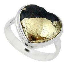 9.61cts solitaire natural pyrite in magnetite 925 silver ring size 7.5 t15598