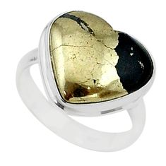 9.96cts solitaire natural pyrite in magnetite 925 silver ring size 6.5 t15599