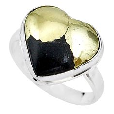 10.41cts solitaire natural pyrite in magnetite 925 silver ring size 8.5 t15606