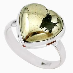 11.08cts solitaire natural pyrite in magnetite 925 silver ring size 9.5 t15616