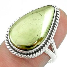 15.03cts solitaire natural pyrite in magnetite pear silver ring size 6.5 t55959