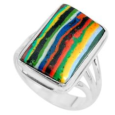 12.83cts solitaire natural rainbow calsilica 925 silver ring size 8 t10329