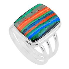 14.08cts solitaire natural rainbow calsilica 925 silver ring size 10.5 t17850
