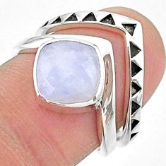 3.16cts solitaire natural rainbow moonstone 925 silver 2 rings size 6 t14821