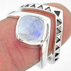 3.41cts solitaire natural rainbow moonstone 925 silver 2 rings size 8 t12062