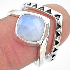 3.14cts solitaire natural rainbow moonstone 925 silver 2 rings size 8 t12069