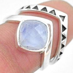 3.29cts solitaire natural rainbow moonstone 925 silver 2 rings size 5.5 t12074