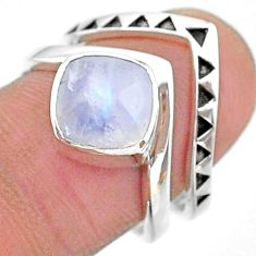 3.29cts solitaire natural rainbow moonstone 925 silver 2 rings size 7.5 t14822