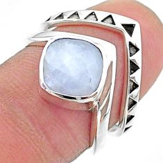 3.15cts solitaire natural rainbow moonstone 925 silver 2 rings size 6.5 t14828