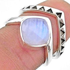 3.16cts solitaire natural rainbow moonstone 925 silver 2 rings size 6.5 t14830