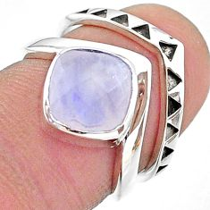 2.81cts solitaire natural rainbow moonstone 925 silver 2 rings size 5.5 t14831