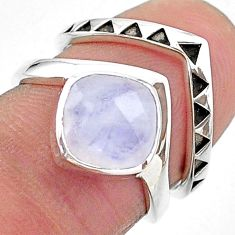 3.02cts solitaire natural rainbow moonstone 925 silver 2 rings size 5.5 t14835