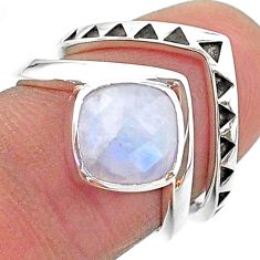 3.01cts solitaire natural rainbow moonstone 925 silver 2 rings size 6.5 t14836