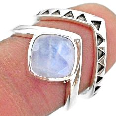 3.04cts solitaire natural rainbow moonstone 925 silver 2 rings size 6.5 t14837