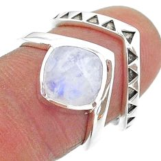 3.29cts solitaire natural rainbow moonstone 925 silver 2 rings size 6.5 t14840