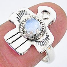 0.73cts solitaire natural rainbow moonstone 925 silver bird ring size 8 t6379