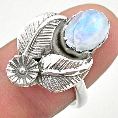 3.28cts solitaire natural rainbow moonstone 925 silver flower ring size 7 t25218