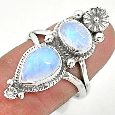 5.52cts solitaire natural rainbow moonstone 925 silver flower ring size 7 t6438