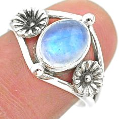 3.29cts solitaire natural rainbow moonstone 925 silver flower ring size 8 t25153