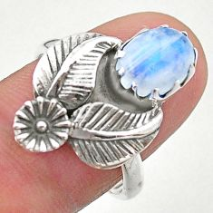 3.40cts solitaire natural rainbow moonstone 925 silver flower ring size 8 t25217