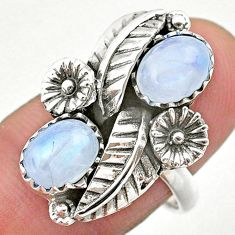 3.83cts solitaire natural rainbow moonstone 925 silver flower ring size 8 t25269