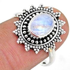 2.10cts solitaire natural rainbow moonstone 925 silver flower ring size 8 t43857