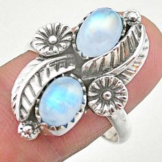 4.55cts solitaire natural rainbow moonstone 925 silver flower ring size 9 t25228
