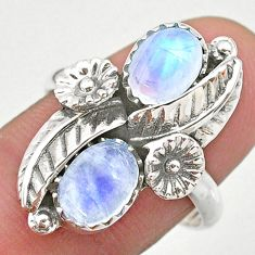 4.38cts solitaire natural rainbow moonstone 925 silver flower ring size 9 t25249