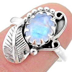 3.22cts solitaire natural rainbow moonstone 925 silver leaf ring size 7 t25176