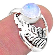 2.63cts solitaire natural rainbow moonstone 925 silver leaf ring size 8 t25098