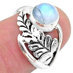 2.59cts solitaire natural rainbow moonstone 925 silver leaf ring size 6.5 t25095