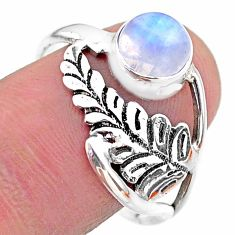 2.44cts solitaire natural rainbow moonstone 925 silver leaf ring size 9.5 t25097
