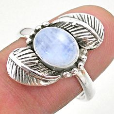 3.40cts solitaire natural rainbow moonstone 925 silver leaf ring size 8.5 t25234