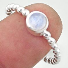 1.07cts solitaire natural rainbow moonstone 925 silver ring size 8.5 r40537