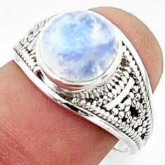 4.67cts solitaire natural rainbow moonstone 925 silver ring size 7.5 r40717