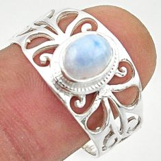 1.47cts solitaire natural rainbow moonstone 925 silver ring size 8.5 r40837