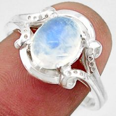 3.44cts solitaire natural rainbow moonstone 925 silver ring size 8.5 r41916