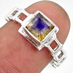 1.21cts solitaire natural rainbow moonstone 925 silver ring size 7.5 r41934