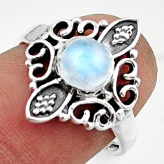 1.24cts solitaire natural rainbow moonstone 925 silver ring size 6.5 r41953