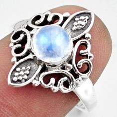 1.32cts solitaire natural rainbow moonstone 925 silver ring size 6.5 r41958