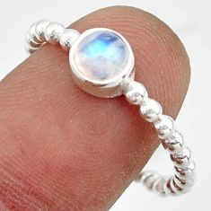 1.06cts solitaire natural rainbow moonstone 925 silver ring size 8.5 r41976