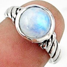 2.98cts solitaire natural rainbow moonstone 925 silver ring size 6.5 r41979